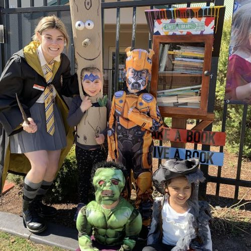 Book week characters and street library